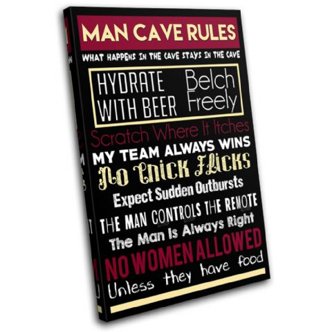 Man Cave House Rules Typography - 13-2372(00B)-SG32-PO